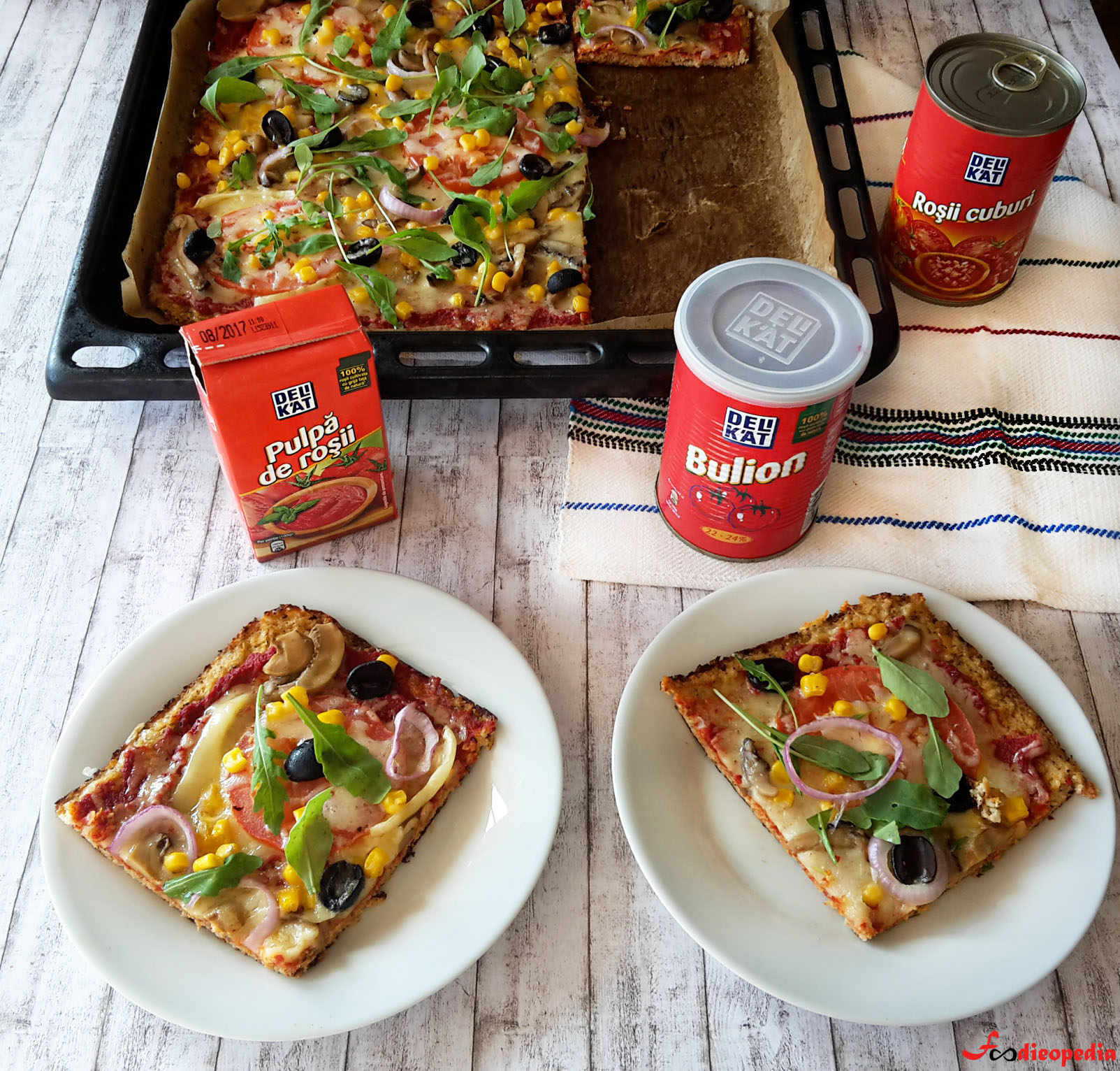 pizza cu crusta din conopida