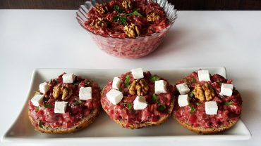 Beetroot salad with feta cheese and walnuts