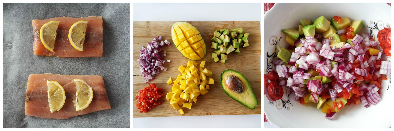 somon cu salsa de mango si avocado
