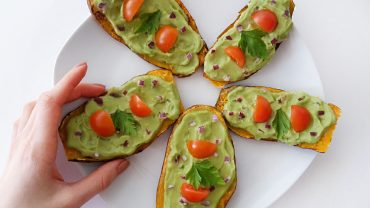 Sweet potato toast with guacamole