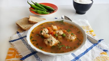 Chicken meatballs soup