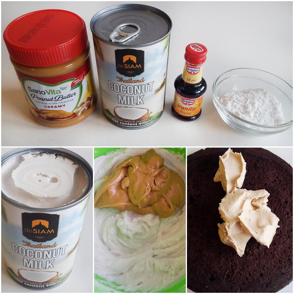 tort vegan cu crema de cocos si unt de arahide7