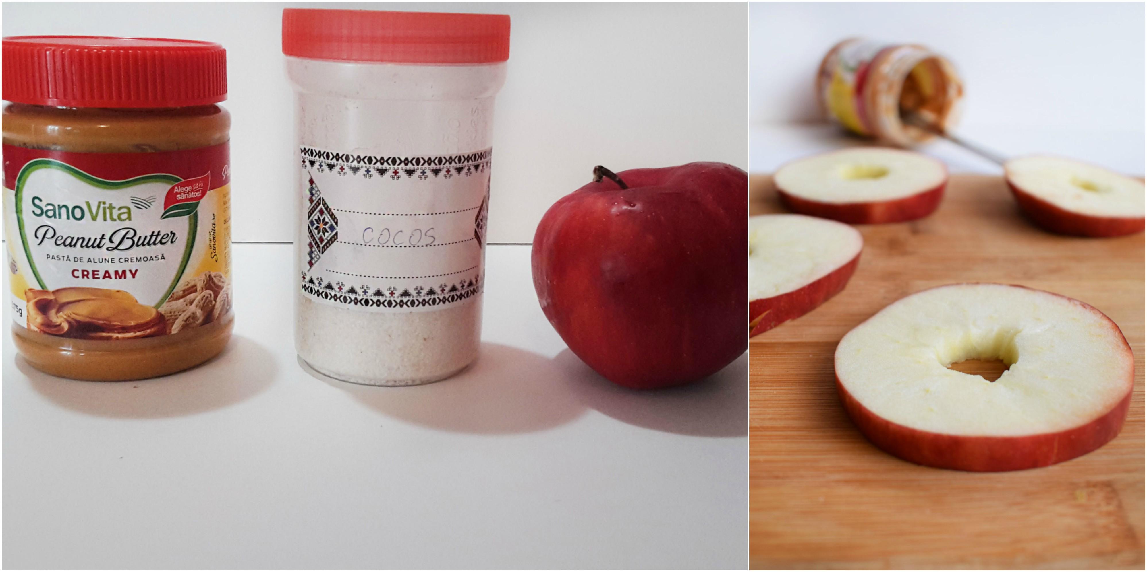 inele de mere cu unt de arahide