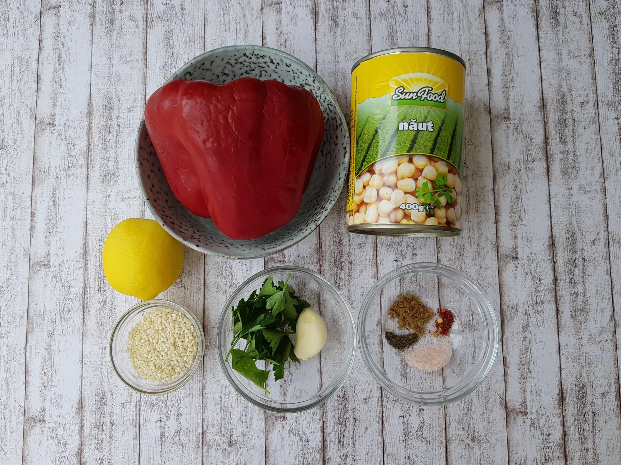 hummus cu ardei copt - foodieopedia