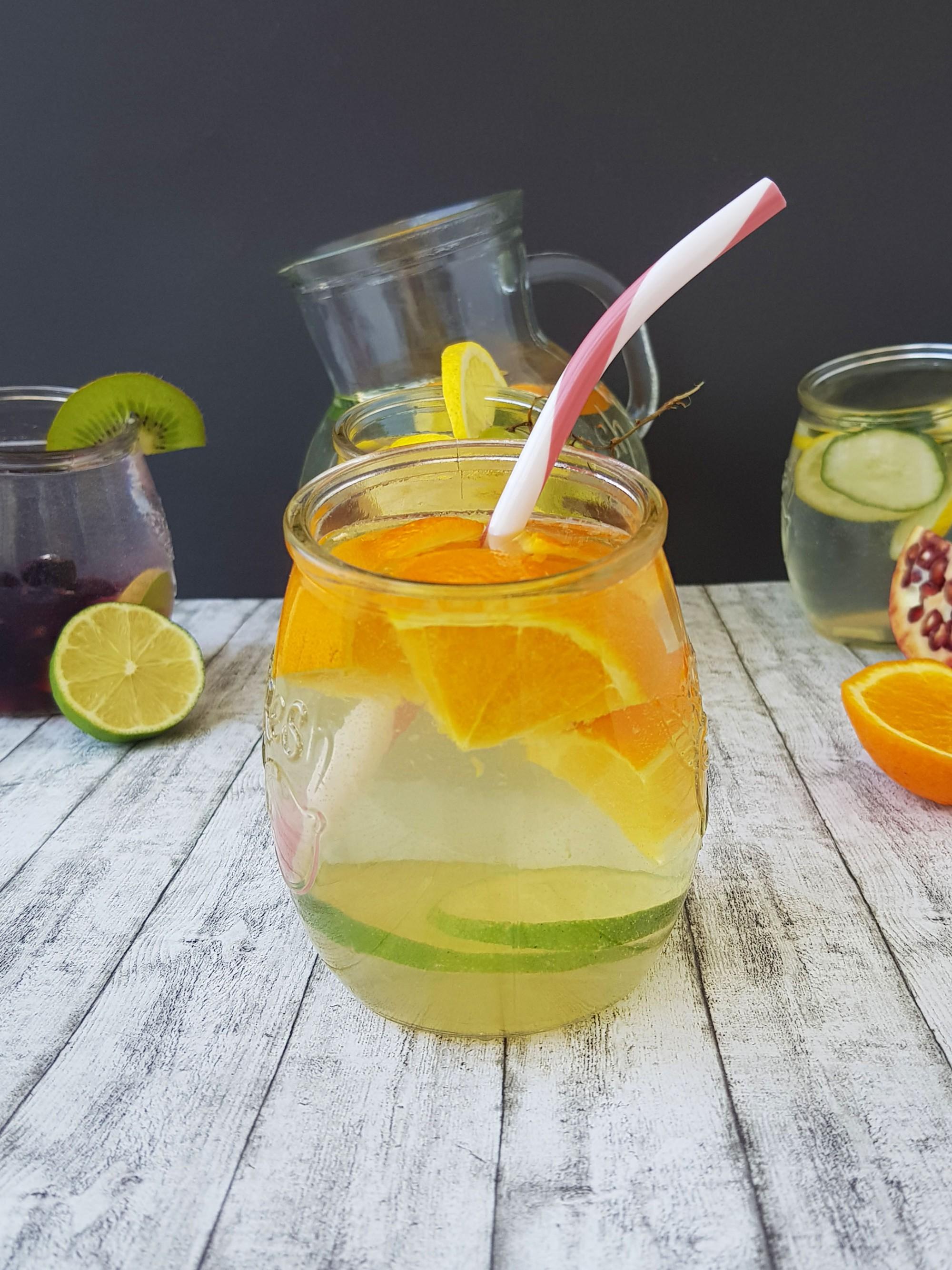 1. apa infuzata cu portocala si lime