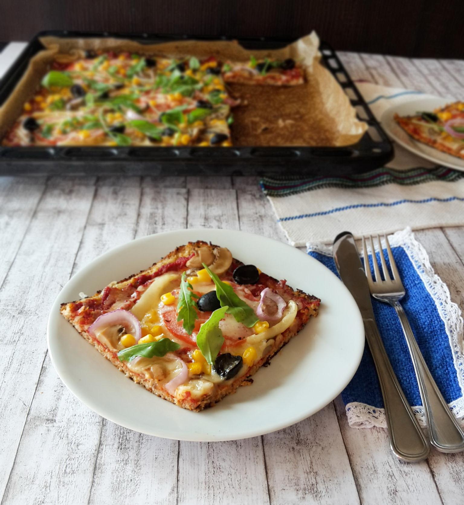 pizza cu blat din conopida