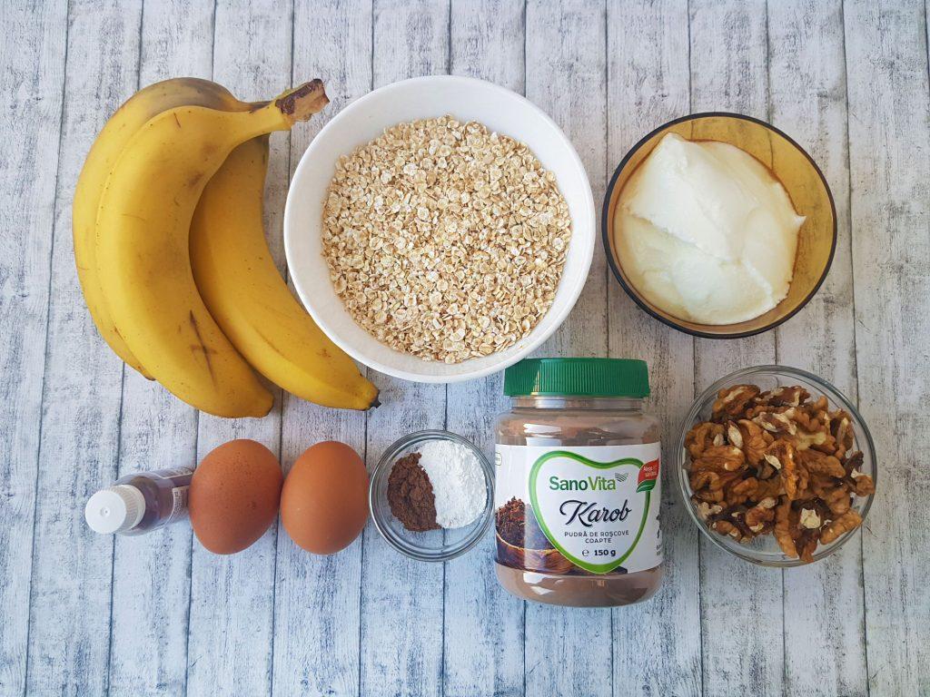 briose cu banane si karob - foodieopedia