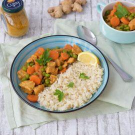 1. pui curry cu orez