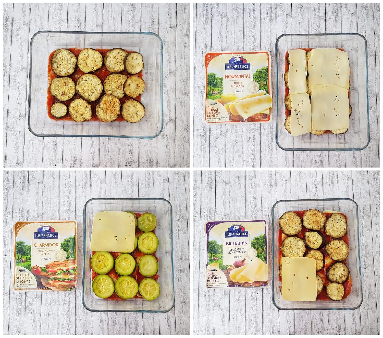 Legume -mille feuille - cu trei tipuri de branza Ile de France - foodieopedia.ro