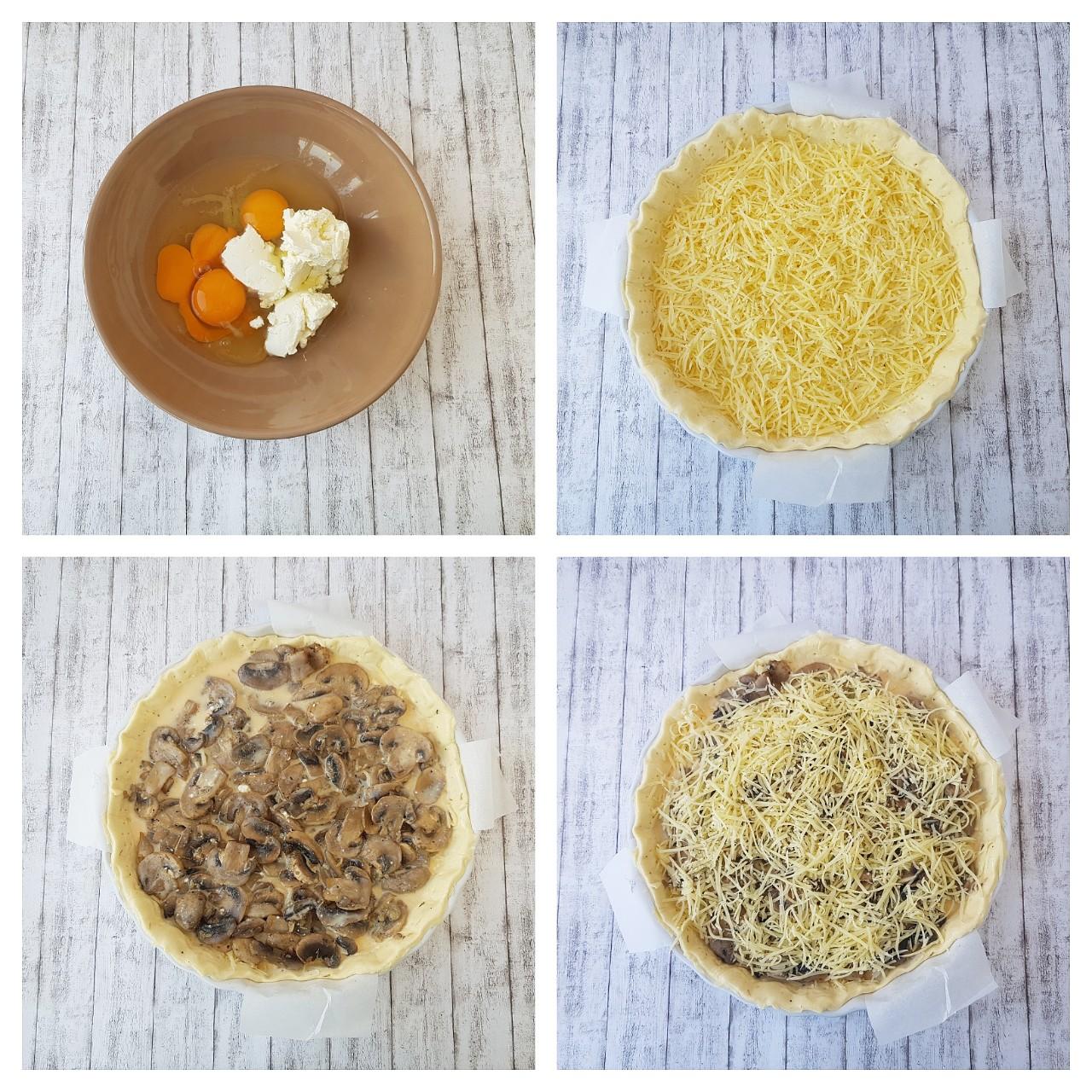 Quiche cu ciuperci și emmentaler - foodieopedia.ro