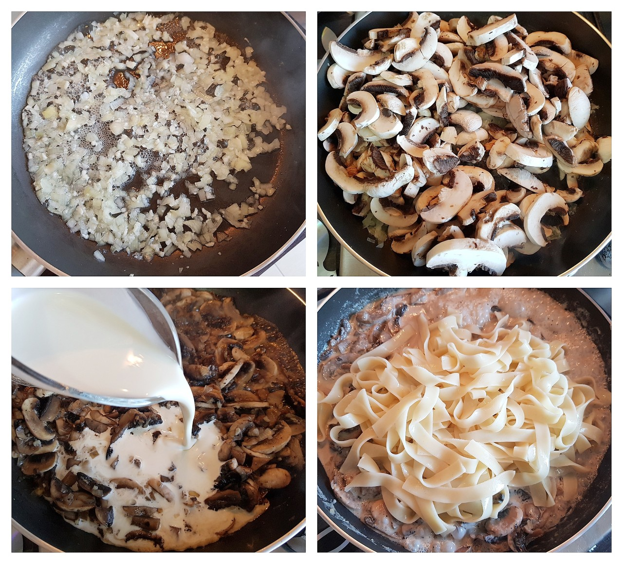 Tagliatelle cu ciuperci si smantana - foodieopedia