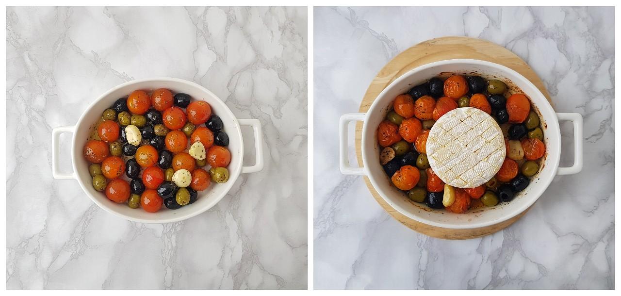 Camembert copt cu rosii si masline - foodieopedia