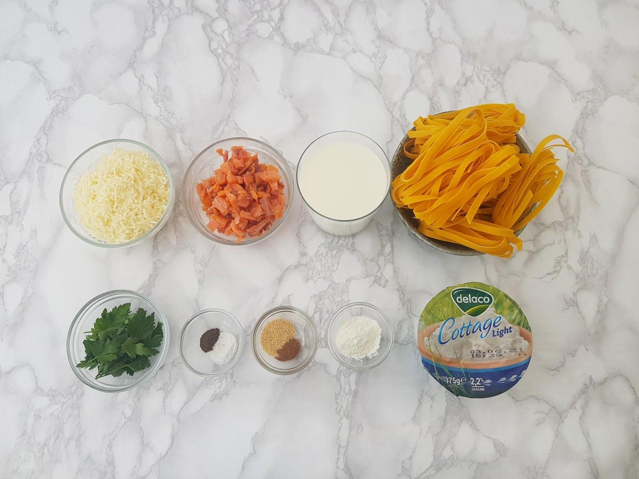 Ingrediente Tagliatelle cu sos alb cu branza cottage - foodieopedia