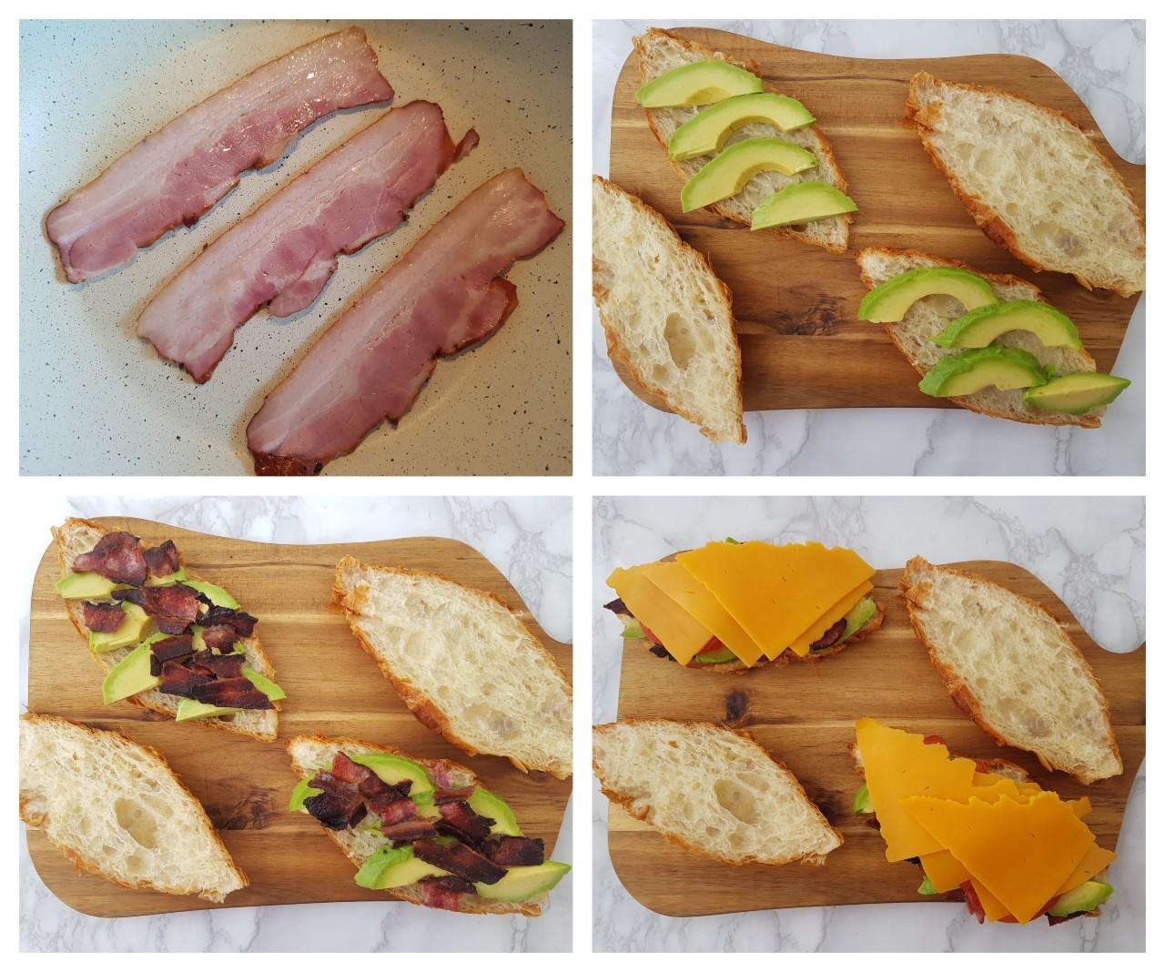 Sandwich cu avocado,bacon si cheddar
