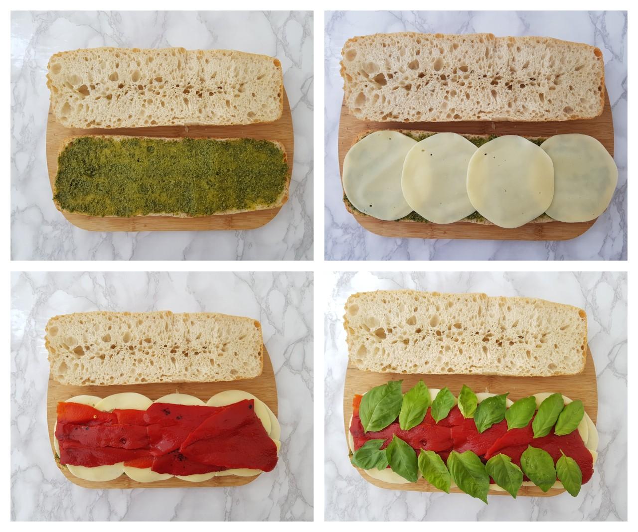 Sandwich cu mozzarella, ardei copt si pesto