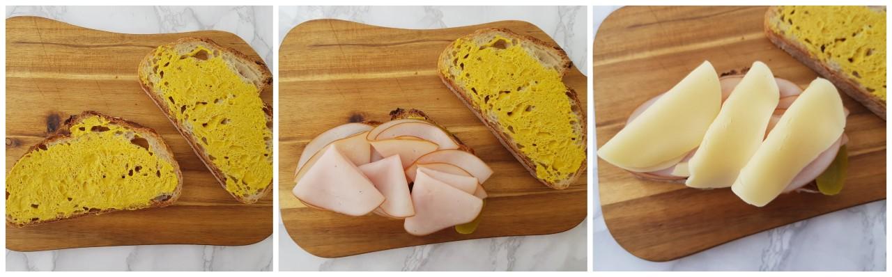 Sandwich cu sunca de curcan, castravete murat si cascaval